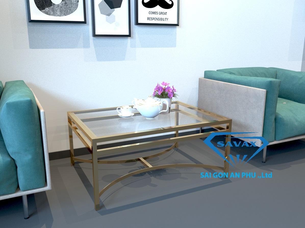 Bàn ghế sofa chân inox