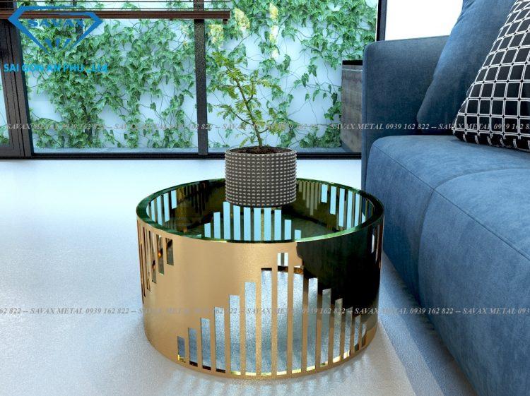 Mẫu bàn tròn sofa inox mạ vàng