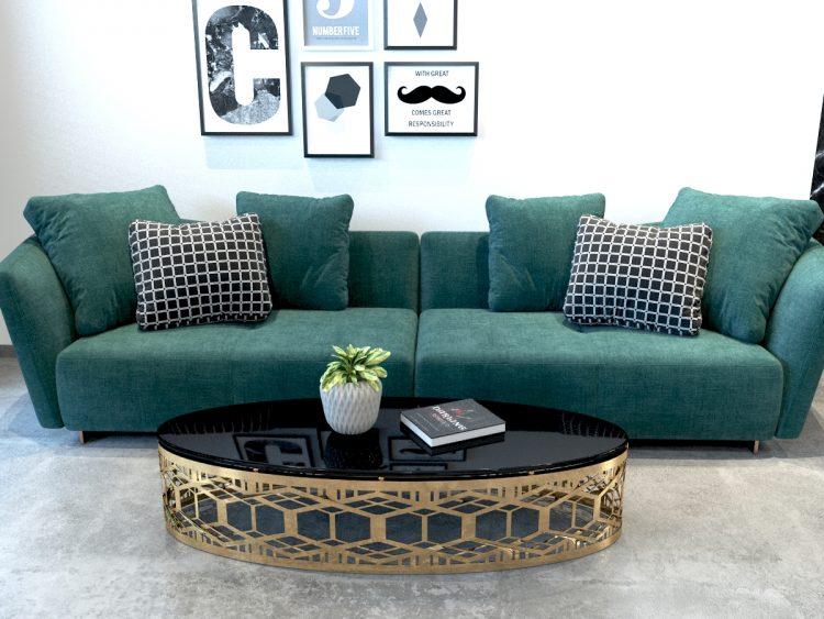 Mẫu bàn sofa với chân cắt laser inox mạ vàng