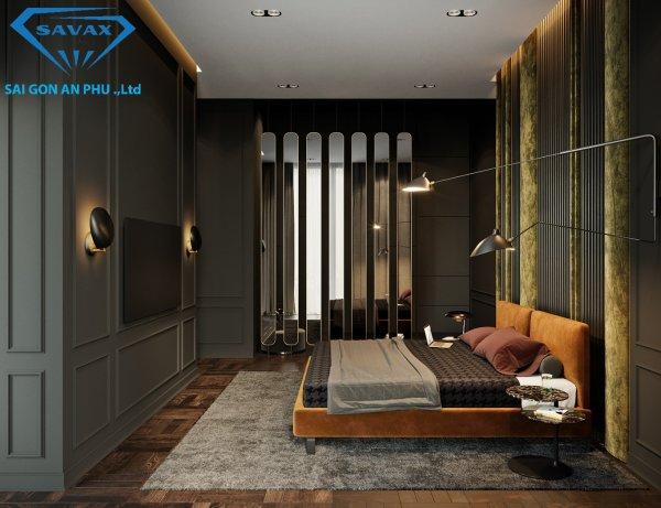 Mẫu vách ngăn dạng gương trang trí cho phòng ngủ