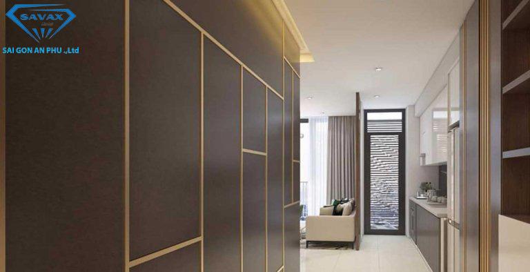 Mẫu nẹp inox vàng trang trí tường