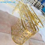 Mẫu bàn sofa inox mạ vàng bằng phương pháp cắt CNC kim loại